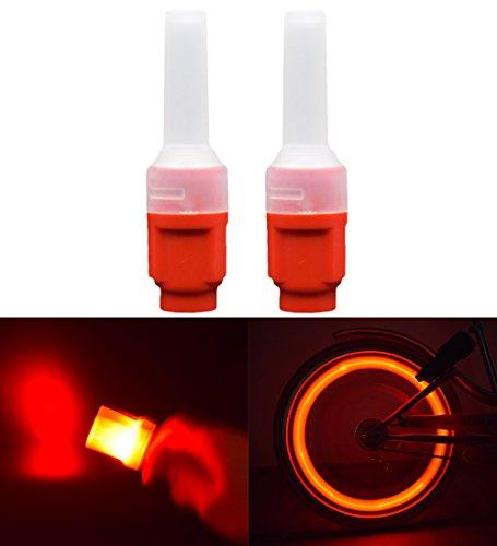 Licht Ventilkappen Rad (Riao-Tech 2er Rad Ventilkappen Ventil Licht Reifen-Licht Radventil Beleuchtung in Rot, Metall-Sockel)
