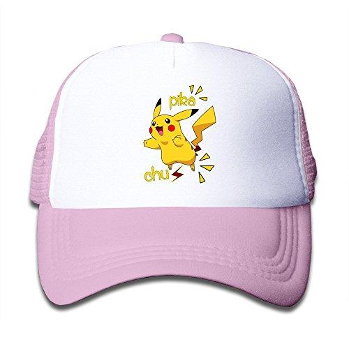 Hittings Youth Children Girl Boy Kids Rock Printed Pattern Pikachu Pokemon Unisex Half Mesh Adjustable Baseball Cap Hat Snapback SkyBlue Pink