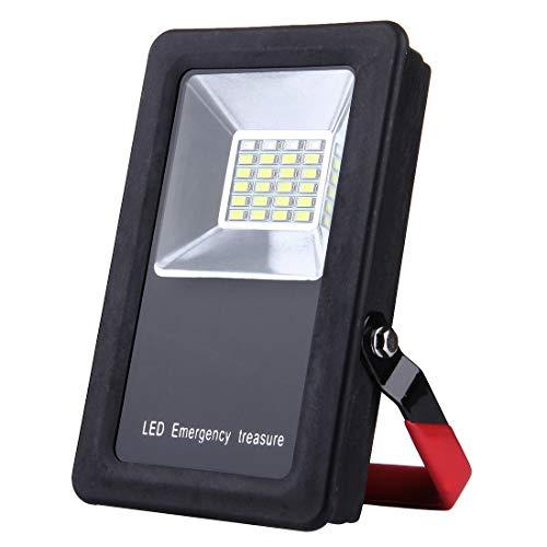 2400LM 6000-6500K IP65 Wasserdichtes rotes und blaues Licht blinkende Warnleuchten USB-Ladegerät Tragbare Flutlichtlampe mit Halter Außenleuchte Sonnenlicht ()
