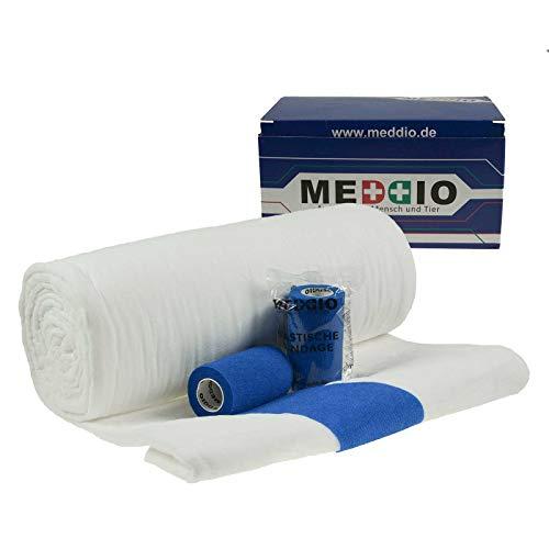 Mullwatterolle 40x500cm + 12 Haftbandagen 10cm blau Anguß-Verband Pferde-Hufe -