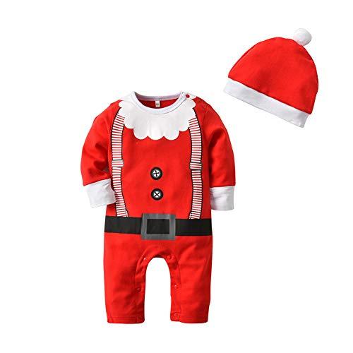 Goyajun Baby Jumpsuit + Hat Suit - Weihnachten Kind Strampler Santa Claus Muster Kleinkind Homewear Baumwolle Playsuit Kinder Pyjamas 1 T - 3 T
