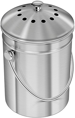 Acero inoxidable Recipiente de Compost para hogar, 1.3 galones(5L) - por Utopia...