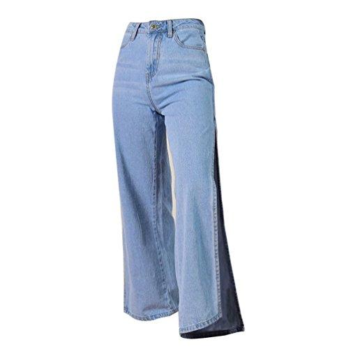 YiLianDa Pantaloni dei Jeans di Jeggings di Alta Vita Moda delle donne Pantaloni Larghi Baggy Blu