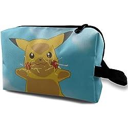 Pikachu Trousse de toilette Pokémon mignon - Trousse de toilette pour cosmétiques, maquillage, accessoires de voyage, articles personnels pour filles et femmes