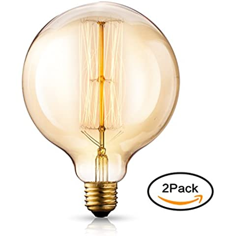 TRANSTEC® 2X G125 E27 40 Vatios 2700K Edison Del Globo Bombilla - Retro Pasado de Moda - Decorativa Luz Bulbo Filamento - Estilo Retro Industrial - Regulable - Bombillas Decorativas[Energy Class