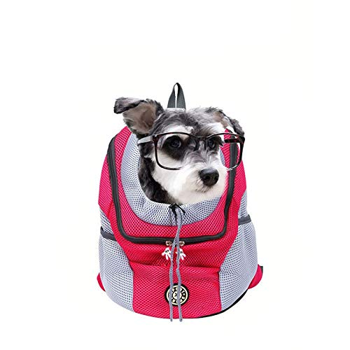Marico Nahum Komfortabler Rucksack für Hunde und Katzen, Vordertasche für Welpen mit Atmungsaktivem Kopfausschnitt und Gepolsterter Schulter Zum Wandern im Freien