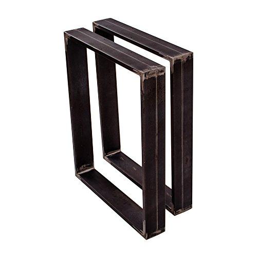 Sossai Mesa Estructura Acero | 2 Piezas | pie de Mesa | Ancho 70 cm x Altura 72 cm TKK3 | el Perfil 20 x 100 mm | Color: Acero Bruto