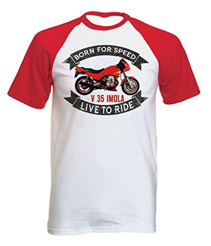 TEESANDENGINES Moto Guzzi V35 Imola Tshirt con Manica Corta Rossa T-Shirt Size XL