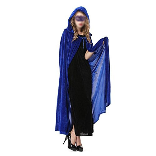 Unisex in voller Länge Samt Kapuzen Caps Samt, Cosplay Kostüme, Langer Umhang - Blau (In Voller Länge Cape)