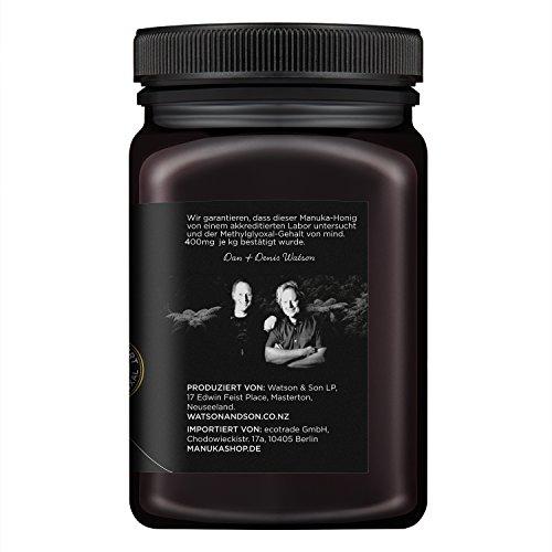 Watson & Son zertifizierter Manuka-Honig MGO 400+ (500g) - Premium Qualität, reines Naturprodukt mit kontrolliertem Methylglyoxal-Gehalt, Direktimport aus Neuseeland