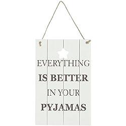 """Clayre & Eef 6H0828 Cartel decorativo, blanco, con texto """"Everything is better..."""" (idioma español no garantizado), dimensiones: aprox. 15 x 23 cm"""