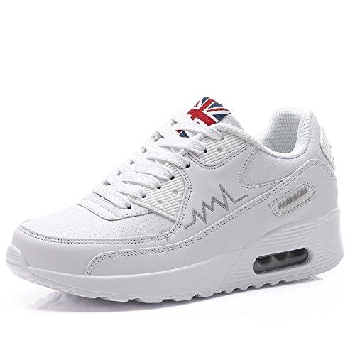 PADGENE Turnschuhe Damen Sportschuhe schockabsorbierende Straßenlaufschuhe neue Schuhe für Mädchen [2016 Neue Version] Weiß