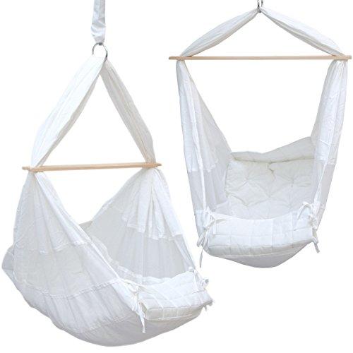 *DuneDesign Babyhängematte 70x36x94cm Baby-Feder-Wiege 100% Baumwolle Kinderhängematte Hängewiege Babyschaukel Weiß*
