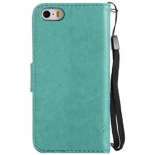 Solid Color Premium PU Ledertasche Prägeart Pattern Flip Stand Case Hülle mit Karte und Bargeld Schlitze für iPhone 5 5S SE ( Color : Green ) Green