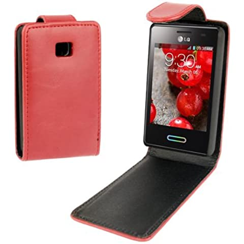 Crazy Horse Texture Funda Vertical Con Tapa Piel Case Funda Para LG Optimus L3 II E340 (Red)