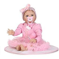 kingko® Poupée Silicone Reborn Baby Doll avec Les Cheveux Enracinés Vêtements Couche Bébé Nouveau-Né Poupée 55 cm Réaliste Fille Mignonne Cadeaux Jouet Anniversaire de Noël (Multicolor)