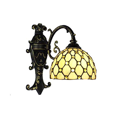 GLMAMK Kreative Wandlampen, Tiffany Stil Wandleuchte Mediterranes Design, Badezimmerspiegellampen Wohnzimmer Cafe Outdoor Art Flur Licht
