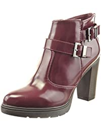 6995b2c7be30 Sopily Chaussure Mode Bottine Cheville Femmes Brillant Multi-Bride Talon  Haut Bloc 9 CM -