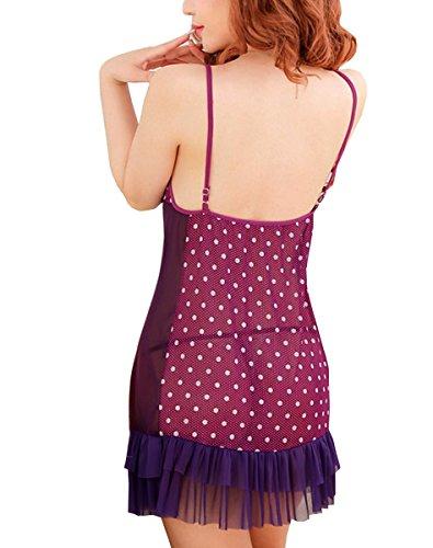 E-Girl voir à travers Tepmtation Lady Gallus ensemble de lingerie, violet Violet