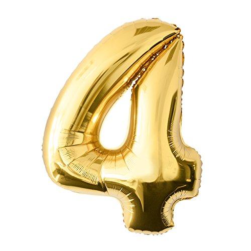 Globo de lámina 4 dorado Número enorme 100 cm rellenable con helio o aero fiesta de cumpleaños