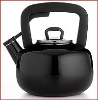 Martha Stewart Collection Enameled Steel 2.5 Qt. Tea Kettle - Black