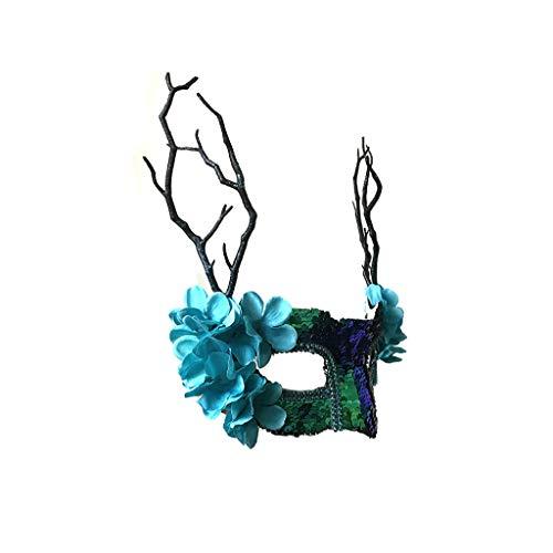(Halloween Maske Venezianischen Sen Weibliche Fisch Lion Shines Zweige Blütenblätter Halloween Maskerade Party Weibliche Cosplay Maske (Farbe : A))