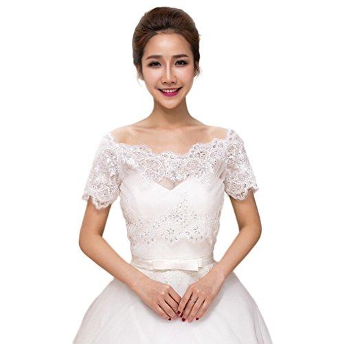 (JUNGEN Braut Jacke Bolero Tüll Frauen Größenverstellbar Stola Schal Mantel Achselzucken Frühling Sommer Hochzeit Kleid, Elfenbein Weiß)
