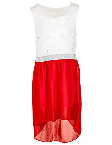 Fashionteam24 Festliches Mädchen Sommer Kleid Perlen Hochzeit Blumenmädchen Kommunion Freizeit M432rt Rot 18/170