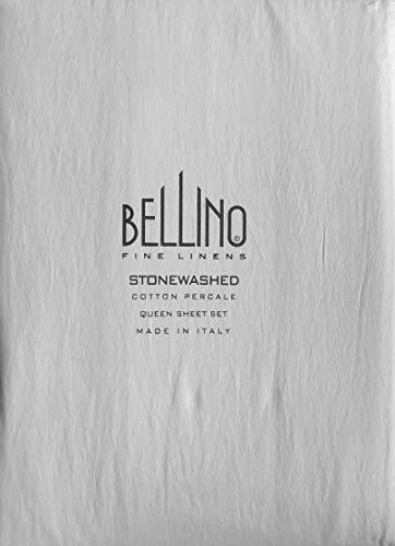 Italienische Schlafzimmer Dekor (Bellino Fine Linens Bettwäsche-Set Italien, 4-teilig, einfarbig, 100% Baumwollperkal, Fadenzahl 300, Hellgrau)