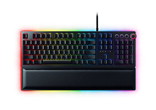 Razer Huntsman Elite - Teclado mecánico gaming con switches optomecánicos (barra estabilizadora de teclas, memoria híbrida local, dial digital multifunción, RGB Chroma) [QWERTY Español]
