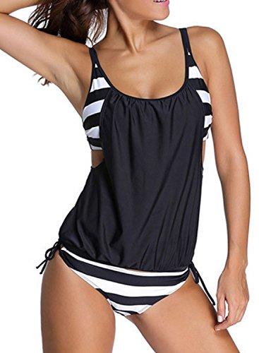 Azue Damen Zweiteilig Tankini Set Bauchweg Bademode 2 Teile Badeanzug Sportlich Bikini Set Schwarz und Weiß Breit Streifen L (EU 38-40) (Bandeau Swimdress Über)