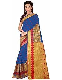 Royal Export Women's Cotton Silk Blue Saree