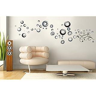 Sticker für Wand – Wandtatoos für Kinderzimmer, Wohnzimmer, Schlafzimmer, Babyzimmer - Wanddeko Modern – 2 x 70x50cm Wandsticker Deko Set Folien Cetrix