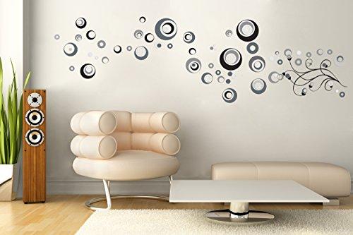 Sticker für Wand - Wandtatoos für Kinderzimmer, Wohnzimmer, Schlafzimmer, Babyzimmer - Wanddeko Modern - 2 x 70x50cm Wandsticker Deko Set Folien Cetrix -