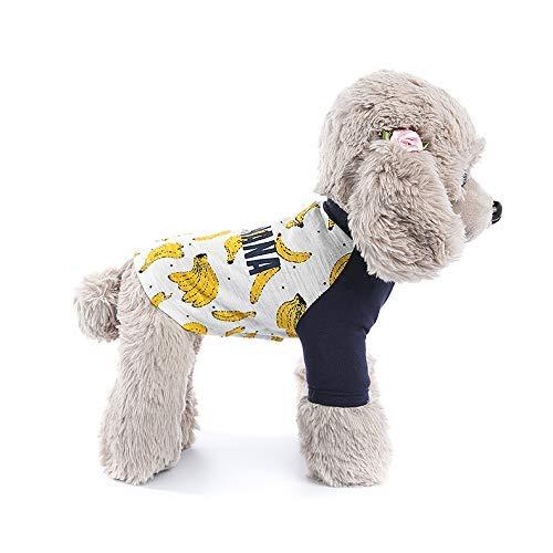 Doggy Kostüm Pet Dress Banana Print VIP Teddy Puppy Kleidung Raglanärmel T-Shirt (Farbe: Gelb, Größe: XXXL) Haustier-Hundekleidung (Farbe : Yellow, Größe : XXXL)