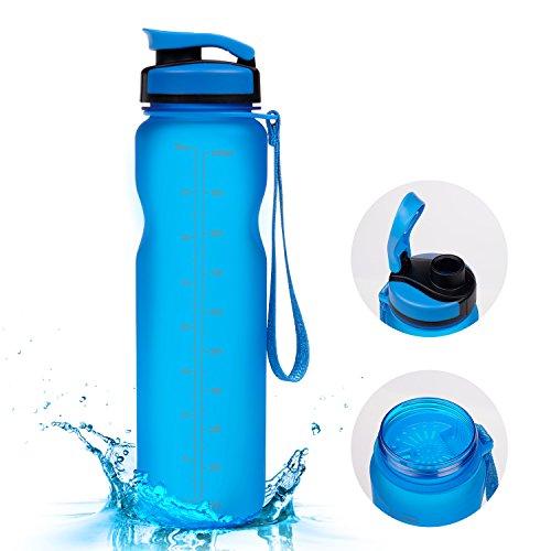 1000ml Sport Trinkflasche - Vsllcau Tritan (BPA FREE) Sportflasche Wasserflasche Auslaufsichere Fahrradflasche Bottle mit Brüste für Outdoor Reise Sport Wanderung Fitness (Blau)