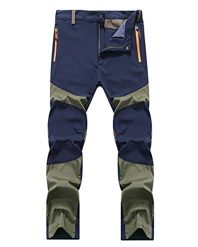 YonglanA Pantaloni All'aperto Uomo Leggera Elasticità Asciugatura Rapida Arrampicata Trekking Pantaloni Blu Verde 2XL