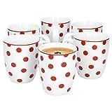 Van Well 6er Set Kaffeebecher Funny   edler Porzellan-Becher   große Tee-Tasse   400 ml   weiß mit roten Punkten