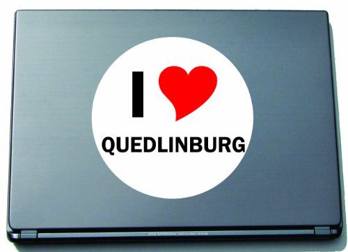 I Love Aufkleber Decal Sticker Laptopaufkleber Laptopskin 297 mm mit Stadtname QUEDLINBURG