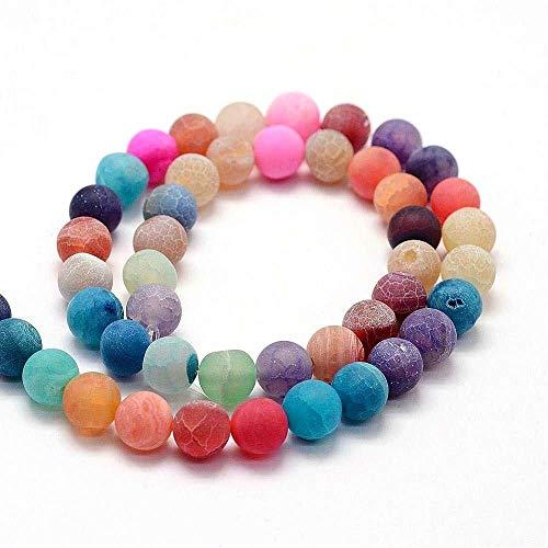 Perlin - PERLEN Naturstein ACHAT MATT EDELSTEIN 10mm Mix Farben RUND SCHMUCKPERLEN füt Kette Armband Ring R174