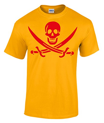 Pirat Calico Jack Rackhams Jolly Roger Totenkopf Flaggen Piraten T-Shirt Goldgelb