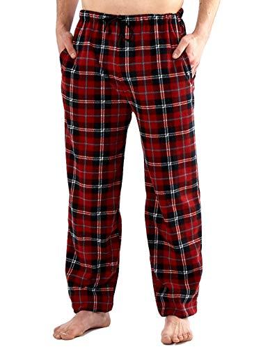 Mens Classic Checked Polar Fleece Pyjama Trouser Sleepwear Nightwear Loungewear (Red) M