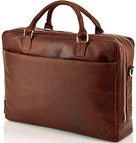 Echt Leder Aktentasche Kano Business Tasche Schultertasche Umhängetasche DIN-A4 Laptoptasche Notebooktasche Messenger Bag DIN-A4 Tasche