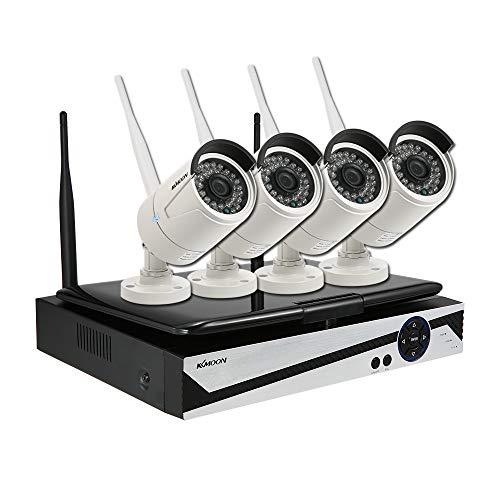 KKmoon NVR CCTV System Set 4 Kanal WiFi drahtloser 10,1 Zoll LCD Bildschirm Monitor + Kugel-IP-Kamera 4pcs HD 720P WiFi outdoor wetterfeste P2P IR Nachtsicht APP Bewegungserkennung (P2p-drahtlose Ip-kamera)
