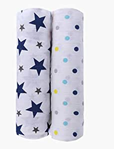 haus & kinder Twinkle Collection Cotton Muslin Swaddle Wrap for New Born Baby, Pack of 2 (Size 100 cm by 100 cm, Navy + Dots)