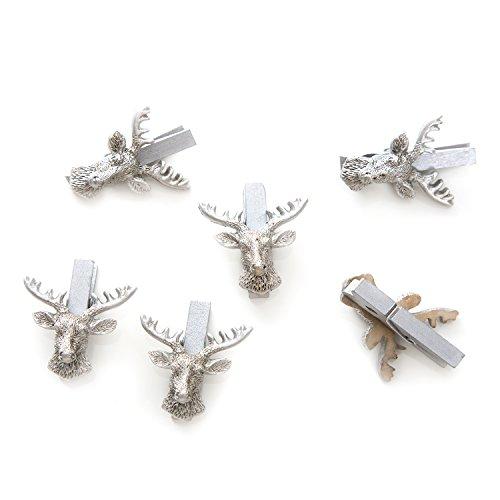 12 Stück kleine SILBER-farbene Zier-Klammern HIRSCH-KOPF HIRSCH-GEWEIH - Deko-Klammern Holz-Klammern Mini-Klammern Weihnachtsklammern Mini-Wäscheklammern als Deko Weihnachten