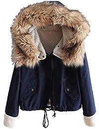 Fanxing 2018 Damen Kurz Wintermantel Vlies Lange Ärmel Baumwolle mit Kapuze  Warm Zip Pocket Jacke Mantel cbdde6bb65
