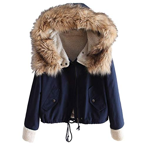 MEIbax Damen Winter Fleece Langarm Baumwolle mit Kapuze kurz Warmer Zip Pocket Jacket Mantel Pelzkapuze Winterjacke Outdoor Trenchcoat