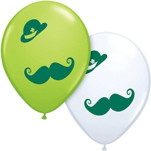 Zahlenballon ST Pats Derby & Mustache 11Latex Balloons 6Pack-Green/Lime/White Asst by Veil Entertainment (Lime Balloons Green)