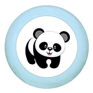 """Türknauf""""Panda"""" dunkelblau Holz Buche Kinder Kinderzimmer 1 Stück wilde Tiere Zootiere Dschungeltiere Traum Kind"""